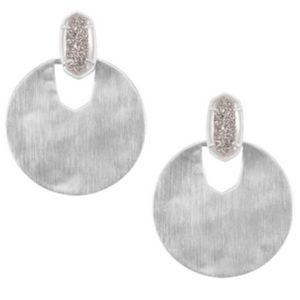 Deena Rhodium Earrings with Platinum Drusy